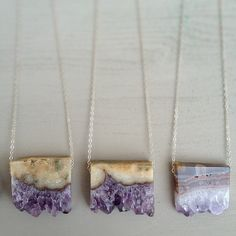 Amethyst Slice Necklace by OCEANSOMIND on Etsy, $50.00