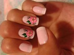 24 Trendy Ideas For French Manicure Designs Disney Pink French Manicure, Red Manicure, French Manicure Designs, Manicure Colors, Nail Designs, Disney Manicure, Rose Nails, Flower Nails, Simple Art Designs