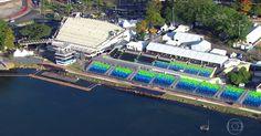 Imagens aéreas mostram estruturas montadas no Rio para Olimpíada
