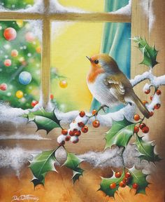 Christmas bird on holly. by illustrator David Finney Christmas Bird, Christmas Scenes, Christmas Past, Vintage Christmas Cards, Christmas Pictures, All Things Christmas, Winter Christmas, Christmas Crafts, Christmas Decorations