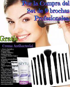 Oferta, Por la Compra de Set de 9 Brochas Profesionales. GRATIS  1 Crema Antibacterial  Pedidos 0981632768