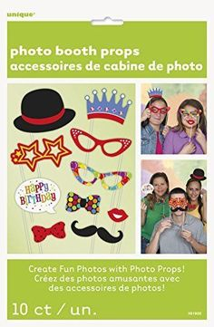 Photo Booth Props Birthday Colorful Theme 10ct Per Pack