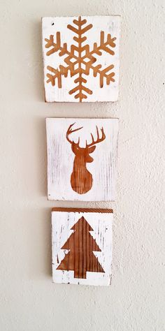 Rustic Christmas Wall Decor - Holiday Wall Decor - Christmas Decorations - Winter Decor - Reindeer - Snowflake - Christmas Tree - Star - pinned by pin4etsy.com
