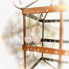 Made with sterling silver hooks Pearl Gemstone, Gemstone Earrings, Rose Quartz, Wind Chimes, Fresh Water, Hooks, Handmade Items, Gemstones, Pearls