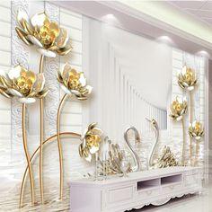 Barato Retrato personalizado mural papel de parede de lótus de ouro simples cisne tridimensional 3d papel de parede de fundo decoração da parede murais, Compro Qualidade Papéis de parede diretamente de fornecedores da China: Retrato personalizado mural papel de parede de lótus de ouro simples cisne tridimensional 3d papel de parede de fundo decoração da parede murais