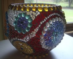 Bowl of Many Colors Stained Glass Mosaic Bowl | zzbobscreativewoodworking - Mosaics on ArtFire