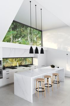 New Kitchen Lighting Gold Marble Countertops Ideas Minimalist Kitchen, Minimalist Decor, Minimalist House Design, Modern Minimalist, Modern Kitchen Design, Interior Design Kitchen, Modern White Kitchens, Modern Home Interior, Light Wood Kitchens