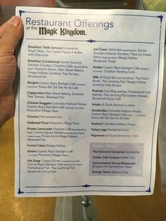 Cheat sheet for food at the Magic Kingdom and where you can find it.