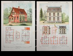 Two Original Antique Architectural Prints from by Printvilla4you