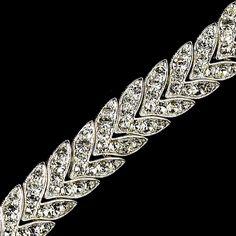 Silver Clear Chevron Rhinestone Bracelet B 373