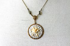 Victorian Floral Cameo Necklace in Antique Brass by MDsparks, $19.99