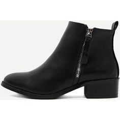 2038ee620d2 Black Faux Leather Side Zipper Ankle Boots Chunky Heel Ankle Boots, Short  Heel Boots,