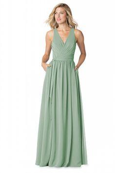 Bari Jay 1605 Bella Chiffon Bridesmaid Dress in Sage Green in Chiffon