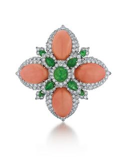 David Webb, Platinum, Diamond, Emerald and Coral Pin | josephdumouchelle