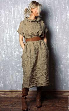 Платья ручной работы. Льняное платье. Les Pois. Интернет-магазин Ярмарка Мастеров. Лен 100%, купить платье
