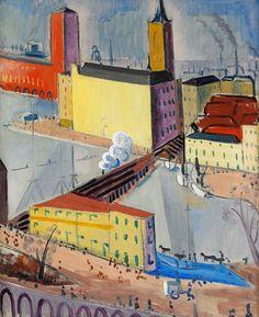 "Isaac GRÜNEWALD, Swedish-Jewish, Stockholm 1889 - Expressionism, ""Sunny afternoon over Riddarholmen"" Henri Matisse, Symbolic Art, Invisible Cities, Perspective Art, Sunny Afternoon, Scandinavian Modern, Medium Art, Color Mixing, Folk Art"