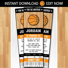 Printable Basketball Ticket Birthday Invitation NBA Party FREE