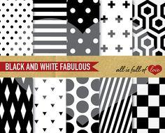 DIGITAL Paper PACK Black White Scrapbook by AllFullOfLove on Etsy