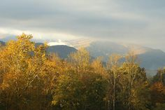 Morning sunlight hits the mountains surrounding Cades Cove shortly after sunrise leaving a golden glow. Autumn foliage brightens the trees as fall works it's way down the valley.