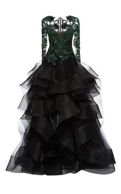 Embroidered Cascading Tulle Ball Gown by MARCHESA for Preorder on Moda Operandi