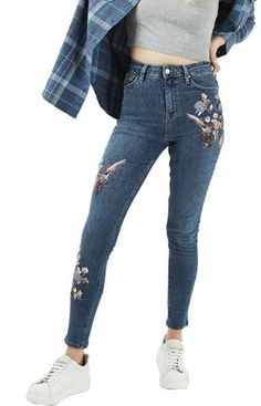 Trendy-Road-Style-Shop-Online-Woman-Fashion-Street-Pants-Jeans-Flower-Embroidery-Denim-Black