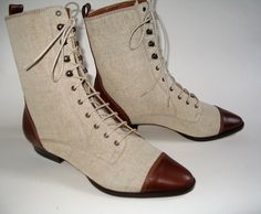 Peter Fox Canvas Linen and Leather Spectator Boots , Women's Size 7 Unworn. $140.00, via Etsy.