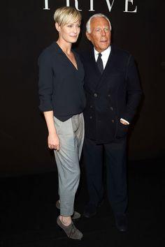 With: Giorgio Armani Where: The Giorgio Armani Privé spring/summer 2015 show Wearing: Armani - HarpersBAZAAR.co.uk