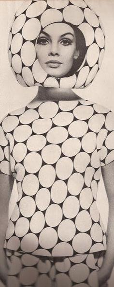 pop fashion, polka dots, fashion models, vintage space, vintage fashion photography, mod fashion, harper bazaar, jean shrimpton, helmet
