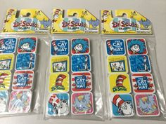 LOT OF 3 DR SEUSS, THE CAT IN THE HAT, HORTON HEARS, 8 SMALL ERASERS, NEW #DrSeuss
