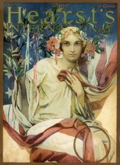 "fawnvelveteen: ""A rare Hearst's cover by Czech Art Nouveau painter/illustrator Alphonse Mucha. - via finebooksmagazine.com """