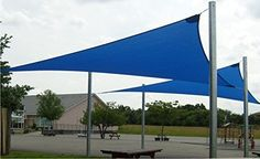 ALEKO® Triangular 12'x12'x12' Waterproof Sun Shade Sail Canopy Sun Shelter Blue Color ALEKO