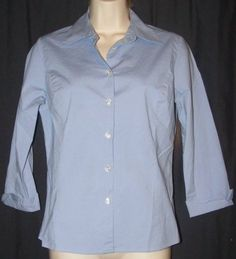 $12.99 + Free Shipping. Ann Taylor Loft Purple Solid Cotton Stretch 3/4 Sleeve Career Shirt Top 4