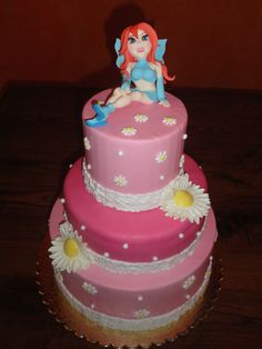 bloom cake, winx cake