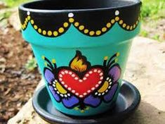 Image result for hand painted flower pot ideas