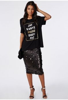 Circle Sequin Midi Skirt Black - Skirts - Missguided