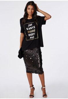 Circle Sequin Midi Skirt Black - Skirts - Missguided