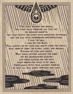 Rain Water Prayer Poster A4 Size Wicca Pagan Witch Witchcraft Book of Shadows | eBay