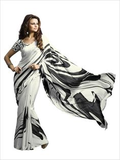 Black/White Party Wear Crepe Saree
