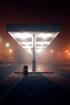 fuel station at night