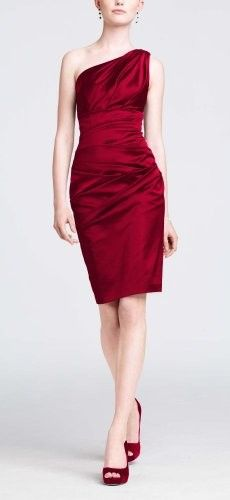Apple Red, very pretty in satin! Muted fall flowers-mums, could be very striking with this dress.
