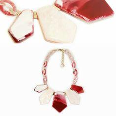 Collar corto resina rosa en diferentes tonos