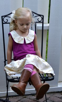 handmade everyday skirt and top with peter pan collar by Sweet Janes Clothing
