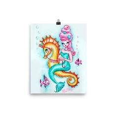 Pink Bouffant Mermaid Riding a Seahorse • Art Print – Miss Fluff's Boutique