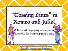 """This product features a fun and engaging pre-reading activity for Romeo and Juliet called """"Tossing Lines."""" Give your students a chance to become familiar with the lines before they even begin reading the play! This is a prediction activity that actually gets students excited to start reading Shakespeare!  Product Includes:  - Comprehensive Lesson Plan - 24 Unique """"Tossing Lines"""" cards tailored to Romeo and Juliet  I hope you enjoy this activity as much as I do!"""