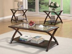 3 PC Double X Coffee Table U0026 End Table Set 701527