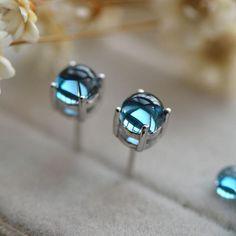 Blue Topaz Stud Earrings in White Gold Plated Sterling Silver November Birthstone Handmade Jewelry