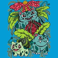 Evolution of a Grass Type is a T Shirt designed by OfficeInk to illustrate your life and is available here: http://www.designbyhumans.com/shop/t-shirt/evolution-of-a-grass-type/180146/  #Tshirt #GrassType #StarterSet