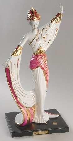 Vittorio Sabadin Vittorio Sabadin Capodimonte Figurines Art Deco Woman-Red/Gold Headdr - Boxed