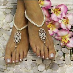 ELIZABETH  pearl wedding barefoot sandals