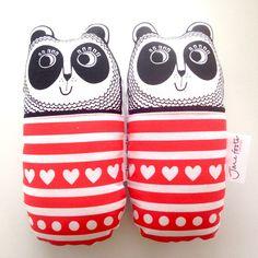 screen printed handmade pandas plushies